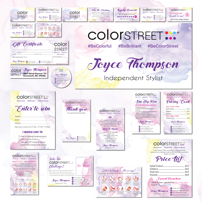 Personalized Color Street Marketing Set, Color Street Marketing Kit, Color