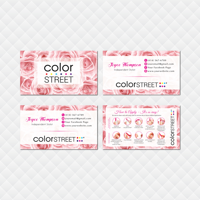 Personalized Color Street Application Cards, Floral Color Street Business Cards,