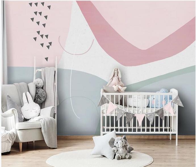 Pink Cartoon Geometry Nursery Wallpaper, Simple Geometry Kids' Room Babies '