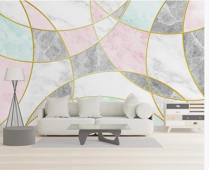 Simple Geometry Marble Wallpaper , Colorful Marble Wall Mural Wall Decor for