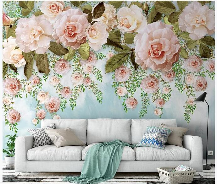 Custom Photo Wallpaper Modern Simple Oil Painting Flowers Murals Wedding House