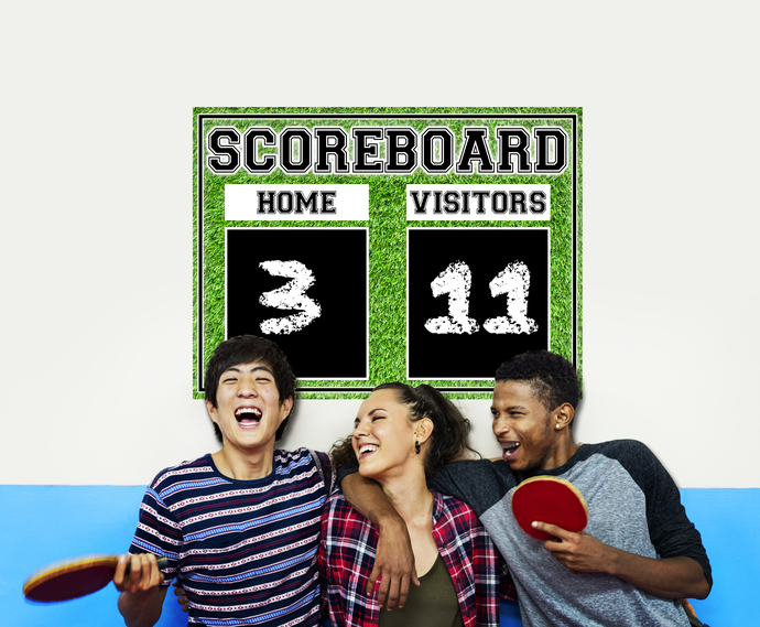 Deluxe Family Chalkboard Scoreboard Wall Decal - Design Four