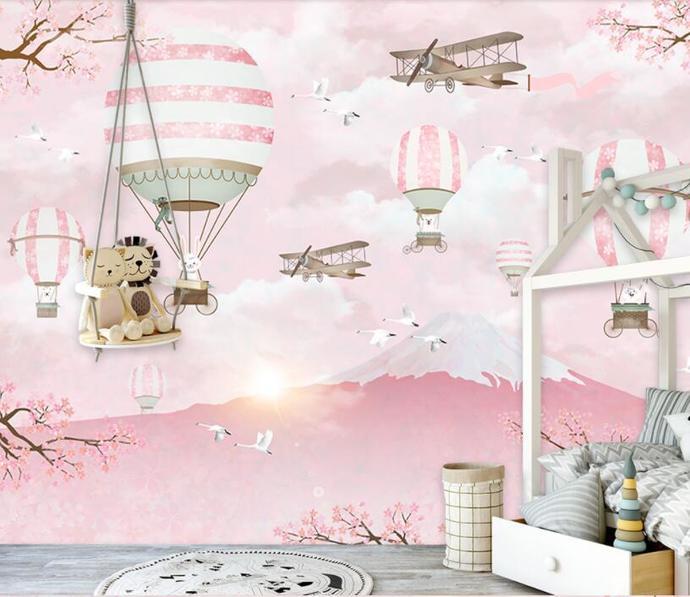 Cartoon Hot Air Balloon Children's Kids' Room Babies ' Room Wallpaper Wall Mural