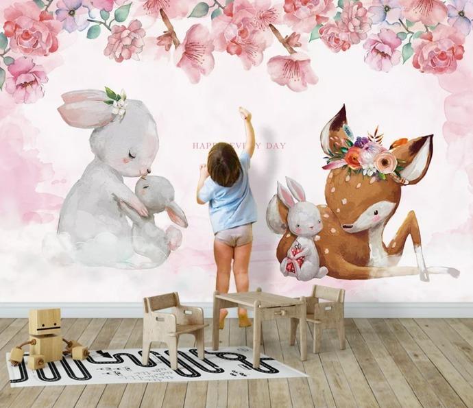 Customized ModernFashion Wallpaper Nordic Elk Mother Child Rabbit Bckground