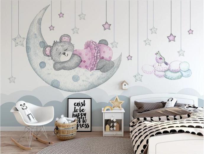Nordic Cartoon Dream Moon Bud Stars Bbear Kids' Room Babies ' Room Wall Mural
