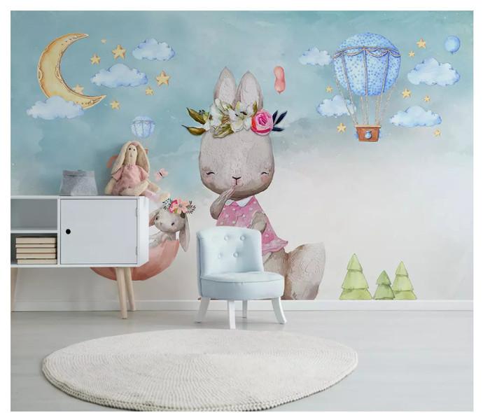 Nordic Minimalist Bunny Balloon Kids' Room Babies ' Room Wall Mural Wall Decor