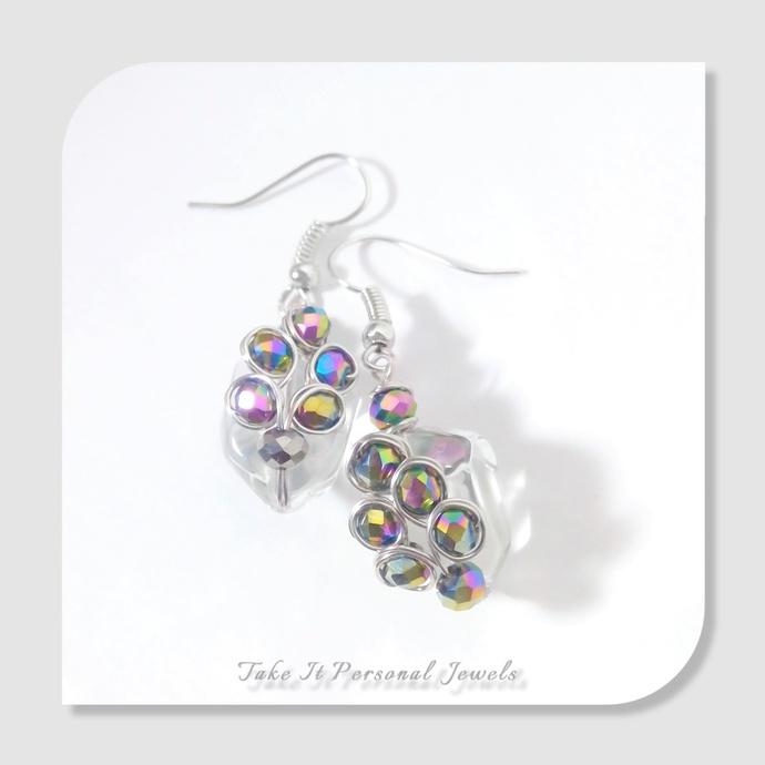 Crystal Nugget Peacock Earrings Handmade Swarovski jewelry Gift