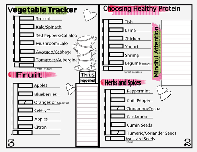 Food Tracker-Grocery List Tracker- Self-Care Journal -Beauty and Brains Girls