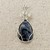 Pietersite Wire Wrapped Sterling Silver Pendant -  Navy Blue Gemstone Jewelry  -