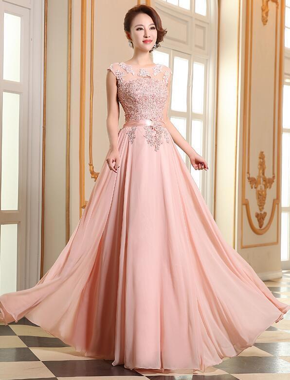 Pink Chiffon with Lace Long Bridesmaid Dress, Pink Prom Dress