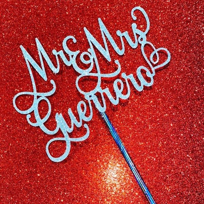 Mr & Mrs Cake Topper, Wedding Cake Topper, Name Cake Topper