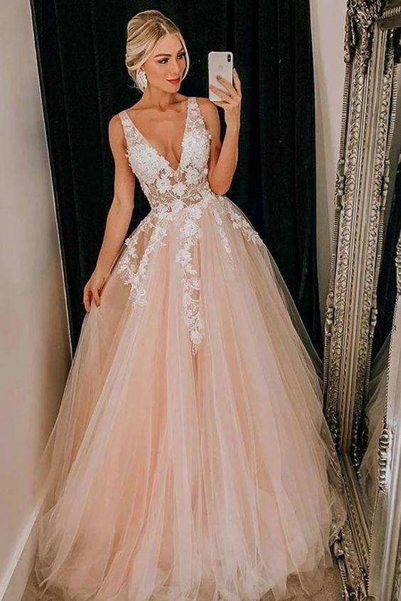 blush pink prom dresses long v neck sleeveless lace appliqué elegant a line