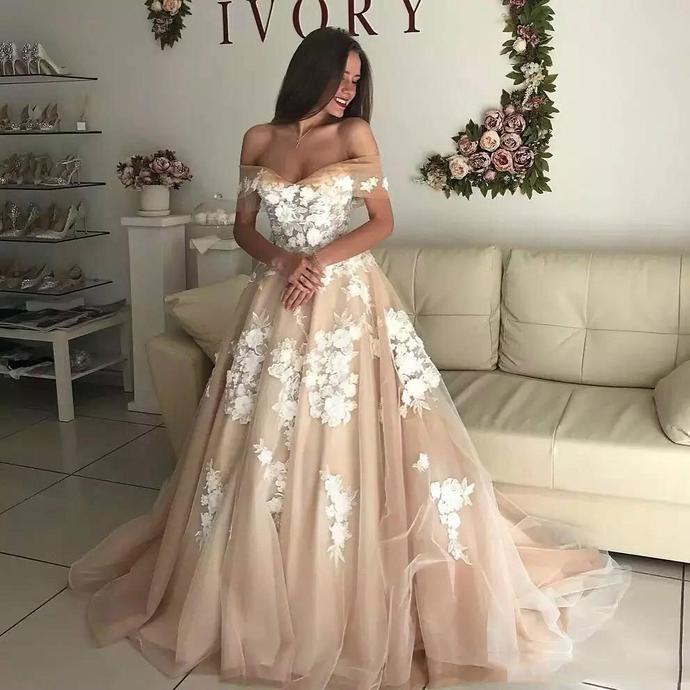champagne wedding dresses boho lace applique floral off the shoulder elegant