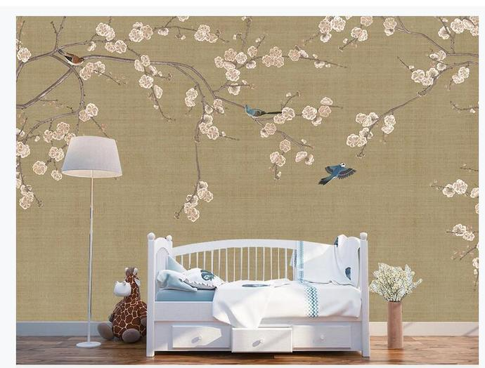 Chinoiserie Hanging Plum Tree Wallpaper,  Flying Birds and Flowers Wall Mural