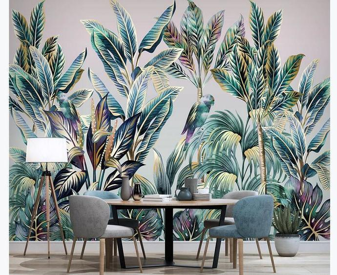 Custom Mural Wallpaper For Bedroom Walls Coconut Tree Banana Leaf Bird Photo