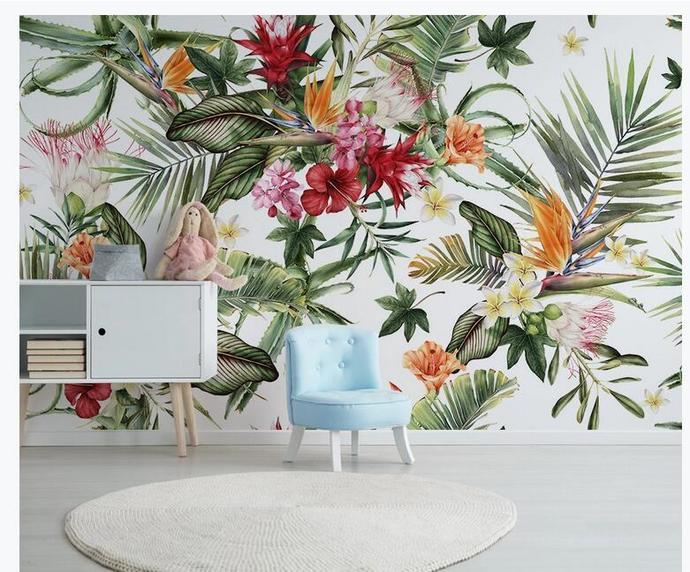 Custom Wallpaper Modern Tropical Rain Forest Plant Leaf Cactus Photo Wall Murals