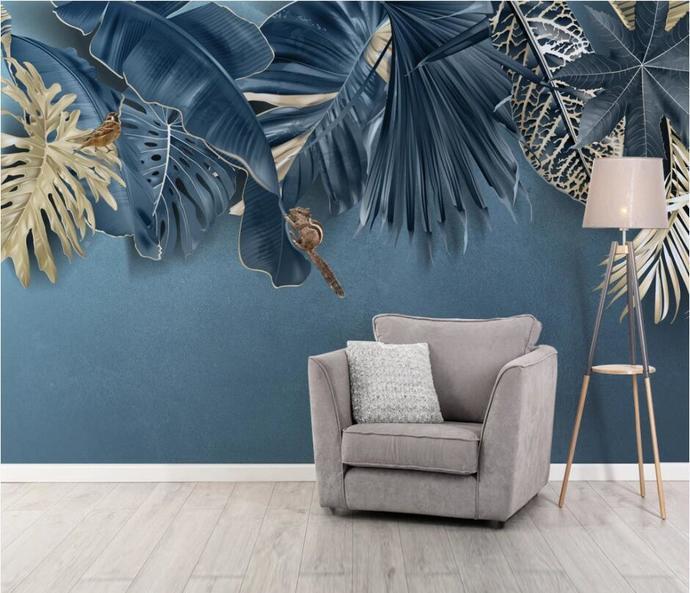 Custom Wallpaper Nordic Minimalist Fresh Tropical Plant Background Wall Murals