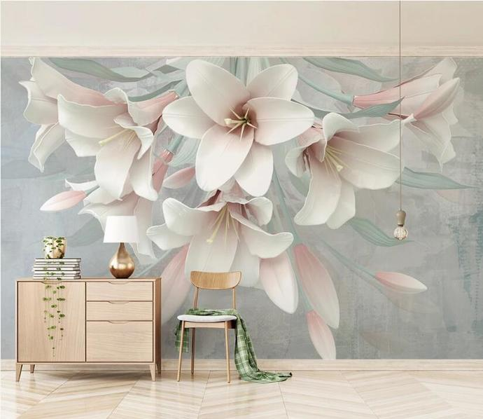 Custom Pink Lily Flower Relie Photo Wallpaper for Living Room Background 3D