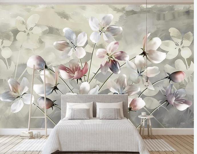 Custom Wall Mural Hand Painted Watercolor Oil Painting Floral Modern Bedroom