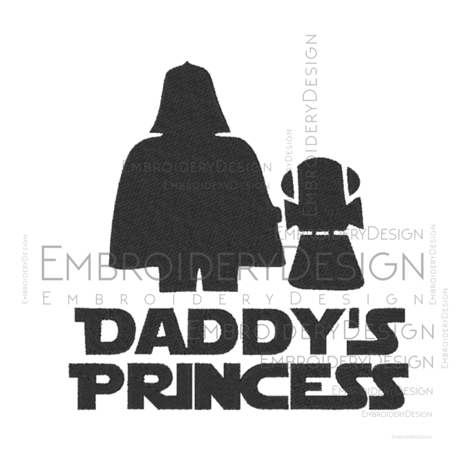 Star Wards  Disney Daddys Princess Fathers day disney Embroidery Machine Designs