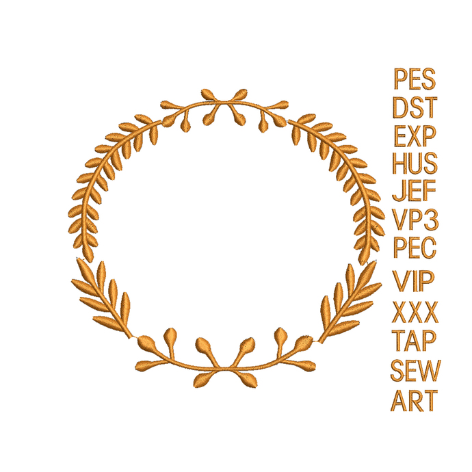 Laurel embroidery design,embroidery machine, Laurel Wreath embroidery design