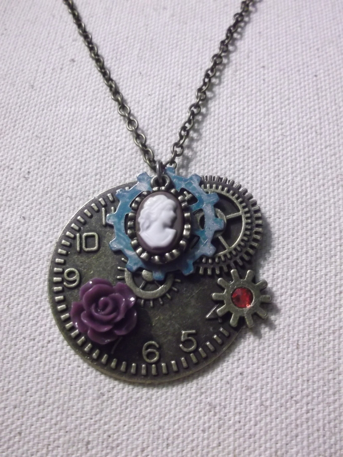 Steampunk watch face and gear base with tiny cameo, purple acrylic rose,