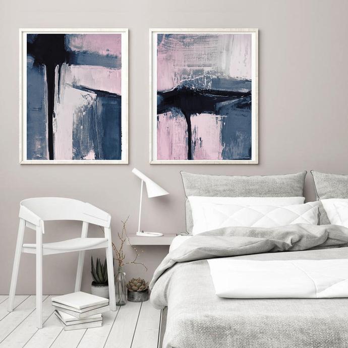 Set of 2 Prints, Abstract Art Prints, Large Wall Art, Printable Abstract Art,
