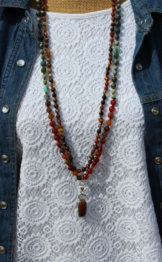 Captivating Moroccan Agate Long Beaded Necklace Double Strand Hand Knot boho