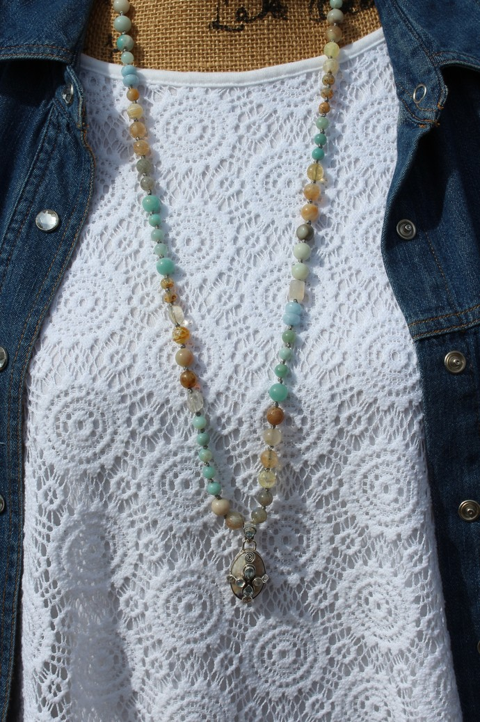 The Psychic Necklace by KnottedUp Long Beaded necklace with pendant Hand knot