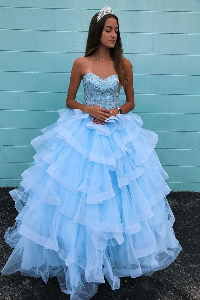 blue prom dresses 2021 sweetheart neck beaded elegant tiered cheap pageant