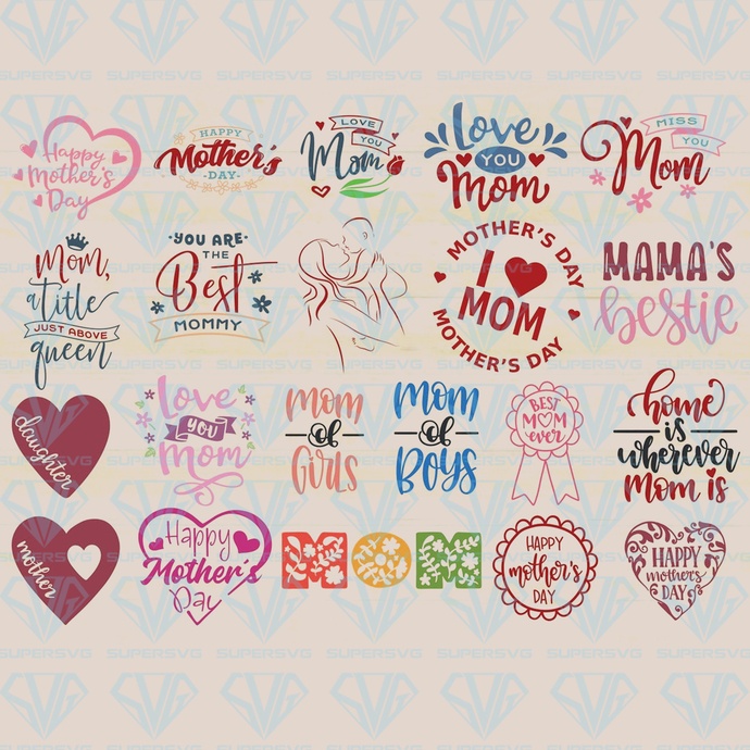 Mother's Day Svg Bundle, Mothers day cutting files, Love Mom, Digital Download,