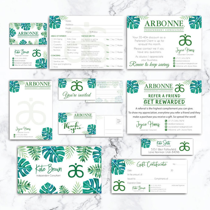 Tropical Arbonne Marketing Bundle, Personalized Arbonne Kit AB03