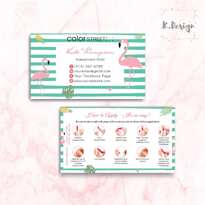 FLAMINGO COLOR STREET BUSINESS CARDS, PERSONALIZED COLOR STREET APPLICATION