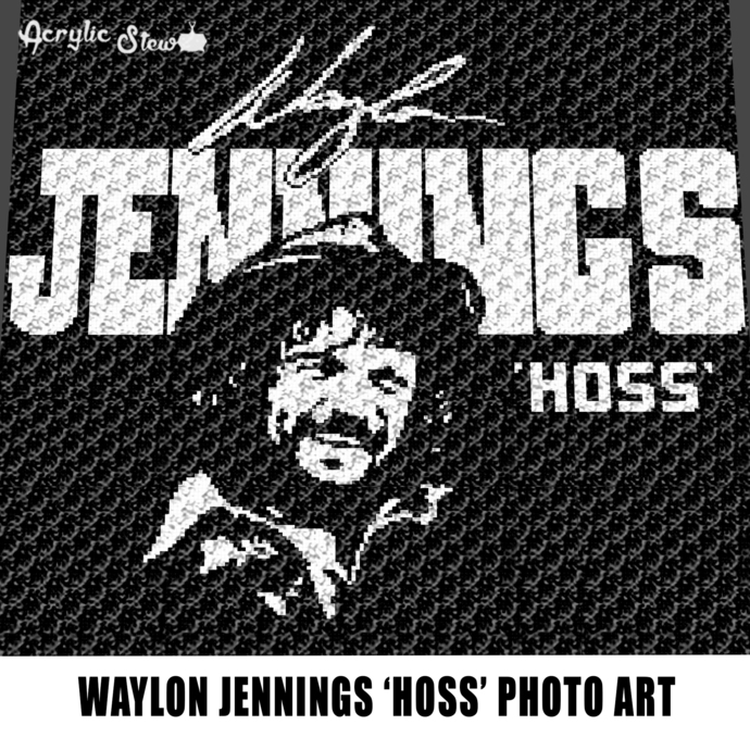 Waylon Jennings aka Hoss Country Music crochet graphgan blanket pattern;