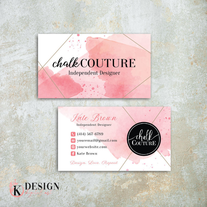 Pink Chalk Couture Business Cards, Chalk Couture Independent Designer CC04