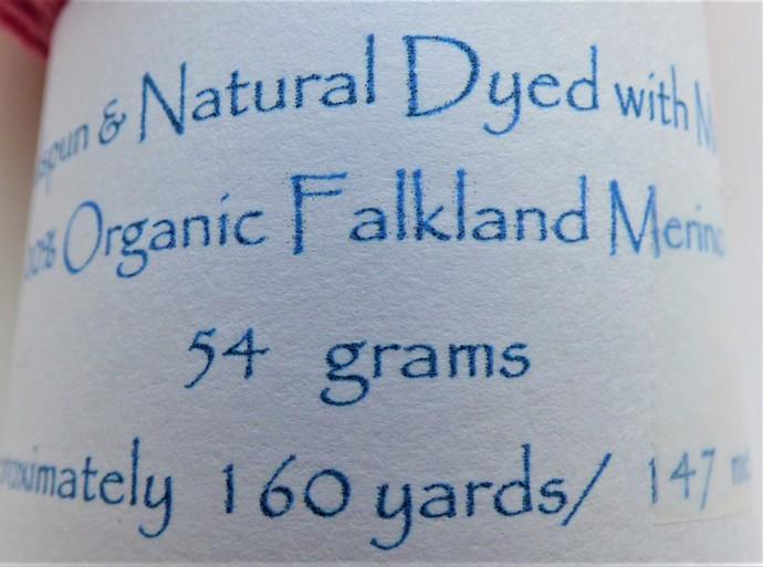 Handspun Yarn Natural / Eco Dyed with Madder – 100% Organic Merino – 53 grams –