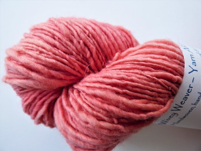 Handspun Yarn Natural / Eco Dyed with Madder – 100% Organic Merino – 54 grams –