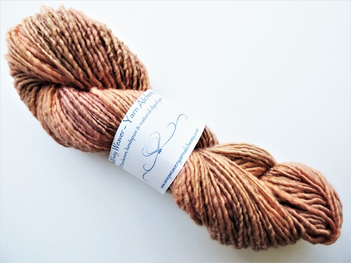 Handspun Yarn Natural / Eco Dyed with Madder – 100% Organic Merino – 52 grams –