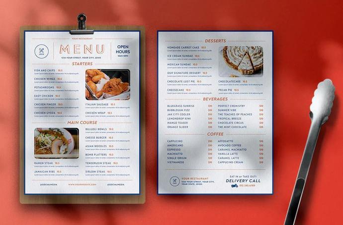 Restaurant Menu Template, Modern Food Menu, Custom Menu Cover
