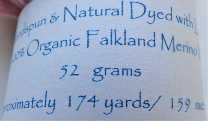 Handspun Yarn Natural / Eco Dyed with Lac – 100% Organic Merino – 52 grams –
