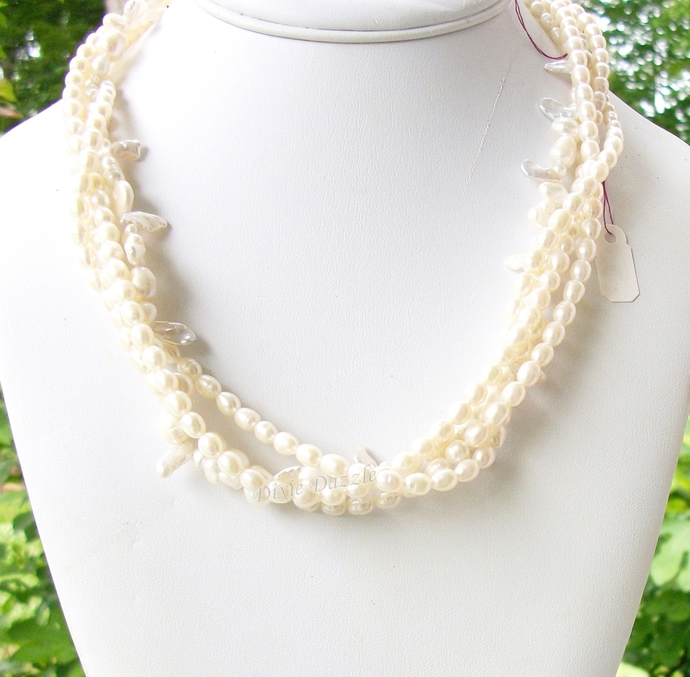 Elegant freshwater pearl necklace for Mother's Day.  4 twisted strands of