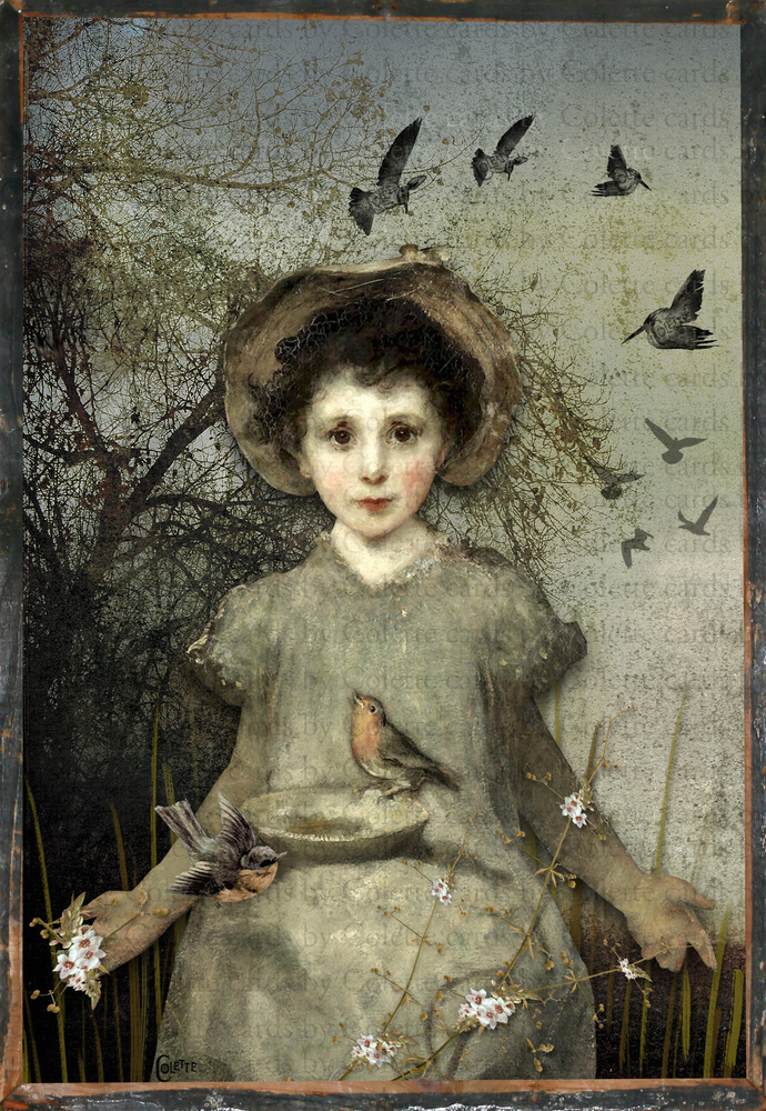 Friend of the Birds Digital Collage Greeting Card2700