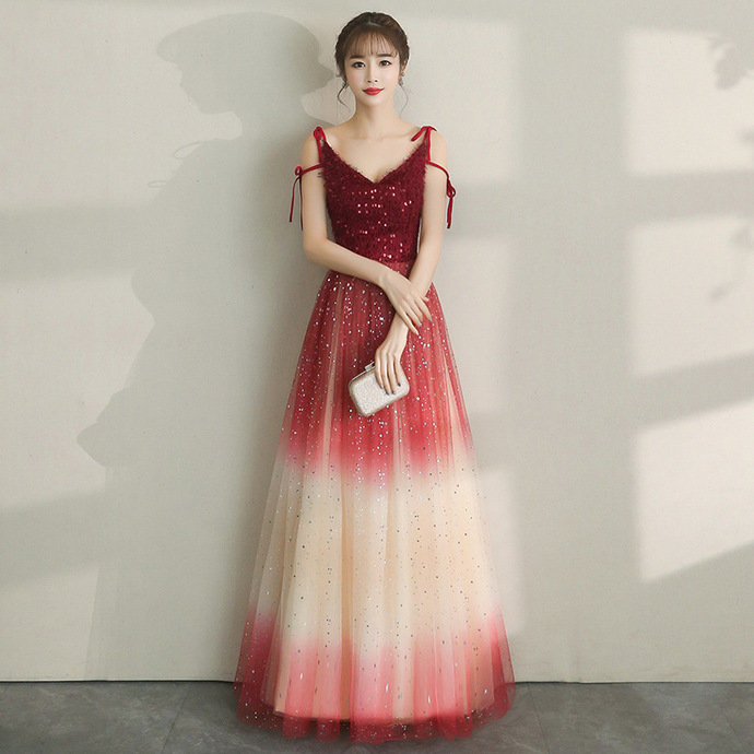 Lovely Red Gradient Tulle Straps Long Party Dress, Red Prom Dress 2020