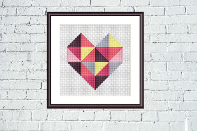 Red heart geometric cross stitch pattern