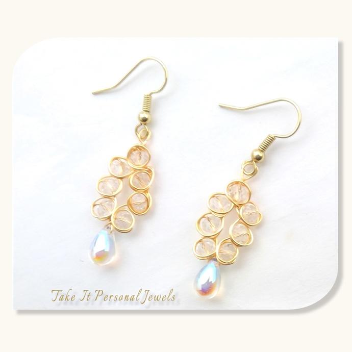 Teardrop Crystal Earrings Gift Jewelry Handmade