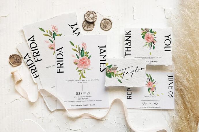 Rose & Foliage Wedding Template, Watercolor Wedding Suite 23