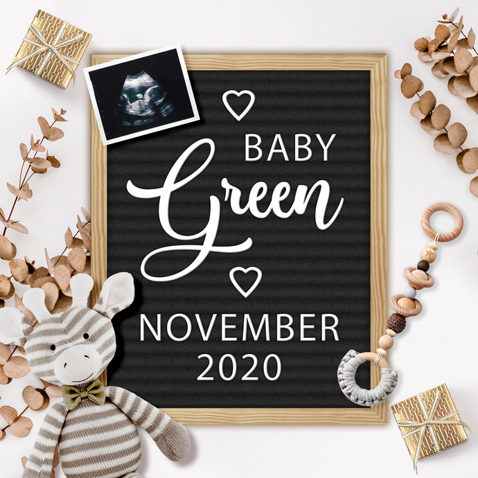 Gender Neutral Baby Announcement for Social Media, Digital Pregnancy