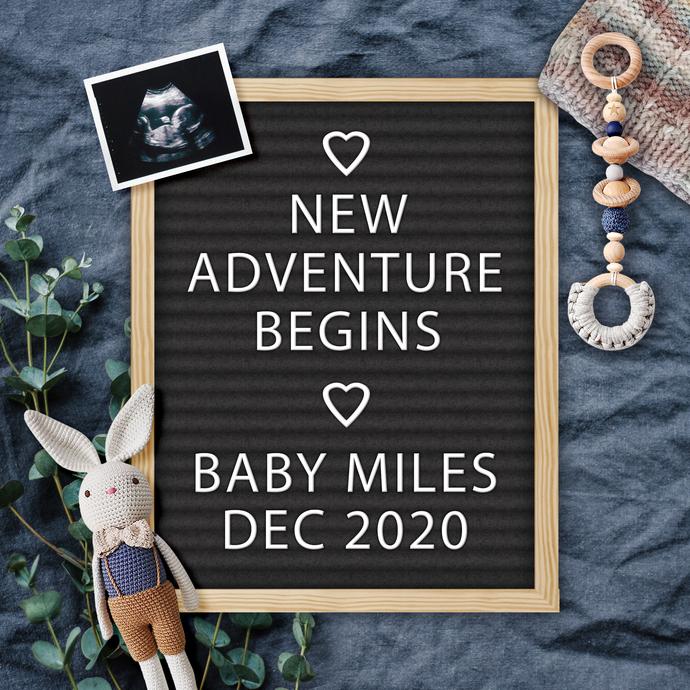 Baby Boy Spring Pregnancy Announcement for Social Media, Digital File,