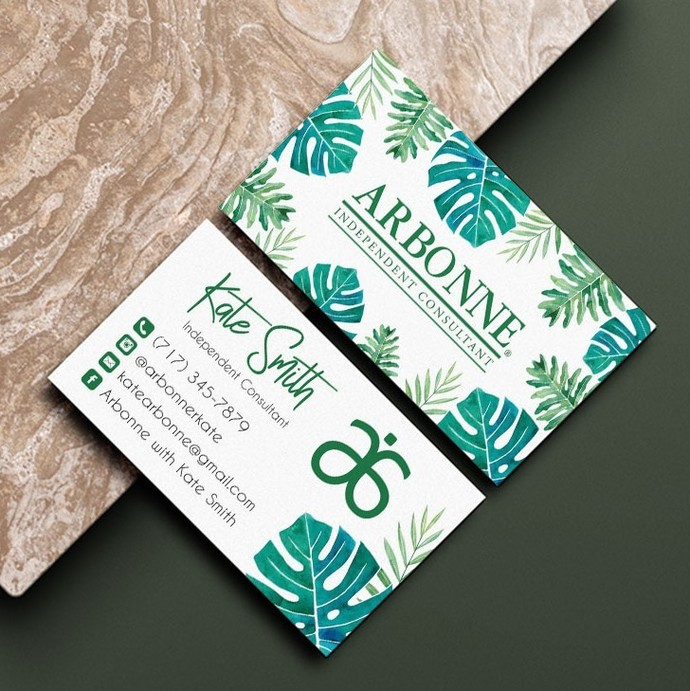 Tropical Arbonne Business Card, Personalized Arbonne business card, Arbonne AB03
