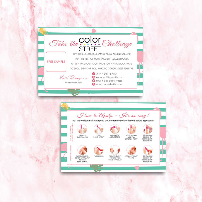 Flamingo Personalized Color Street Twosie Card, Color Street Challenge Card CL47